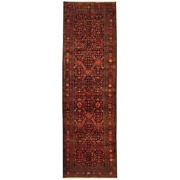 Handmade Herat Oriental Persian Tribal Hamadan Wool Runner (Iran) - 4' x 13'