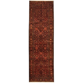Herat Oriental Persian Hand-knotted Tribal Hamadan Wool Runner (4' x 13')