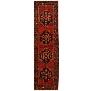Herat Oriental Persian Hand-knotted Tribal Hamadan Wool Runner (3'9 x 13'1)