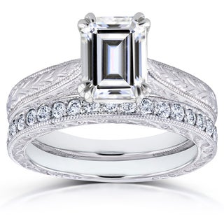 Annello by Kobelli 14k White Gold 1 3/4ct Emerald Moissanite and 1/3ct TDW Diamond Antique Cathedral Bridal Set (G-H, I1-I2)