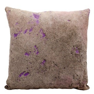 Mina Victory Natural Leather and Hide Two Tone Hide Purple Throw Pillow (20-inch x 20-inch) by Nourison
