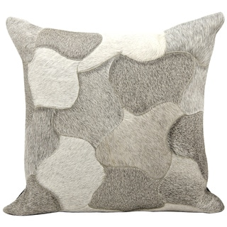 Mina Victory Natural Leather and Hide Jigsaw Puzzle Silver Throw Pillow (14-inch x 30-inch) by Nourison