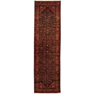 Herat Oriental Persian Hand-knotted Tribal Hamadan Wool Runner (3'6 x 12')