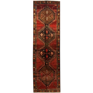 Herat Oriental Persian Hand-knotted Tribal Hamadan Wool Runner (3'9 x 12'8)