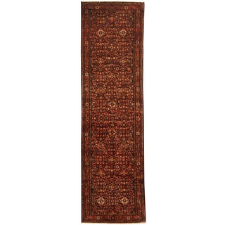 Herat Oriental Persian Hand-knotted Tribal Hamadan Wool Runner (3'1 x 13'6)