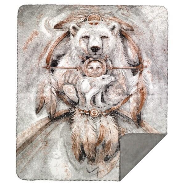 Denali Spirit Bear/ Sterling Grey Throw (60 x 70)