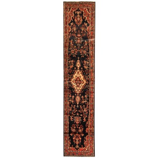 Herat Oriental Persian Hand-knotted Tribal Hamadan Wool Runner (2'6 x 12'5)