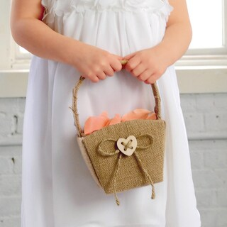 Tan Burlap/Twine Heart Flower Girl Basket