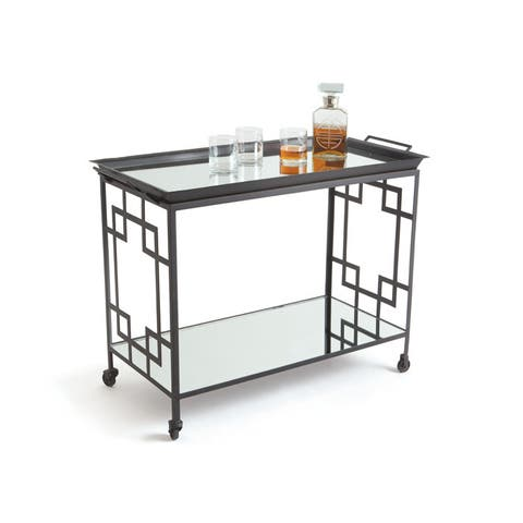 Powder Coated and Matte Black Large Mirrored Bar Cart