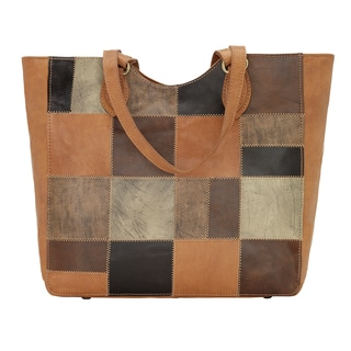 American West Groovy Soul Patchwork Leather Tote Bag