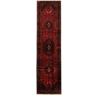 Herat Oriental Persian Hand-knotted Tribal Hamadan Wool Runner (2'9 x 10'2)