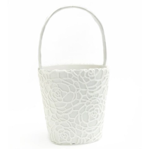 Mod White Lace/Paper Flower Girl Basket