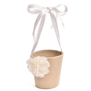 Rustic Chic Tan Burlap and Satin Flower Girl Basket