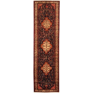 Herat Oriental Persian Hand-knotted Tribal Hamadan Wool Runner (3'2 x 11'6)