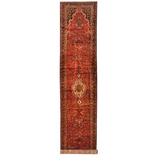 Herat Oriental Persian Hand-knotted Tribal Hamadan Wool Runner (3'5 x 16'5)