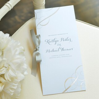 Silver Swirl White Paper Wedding Program Kit (50 Count)