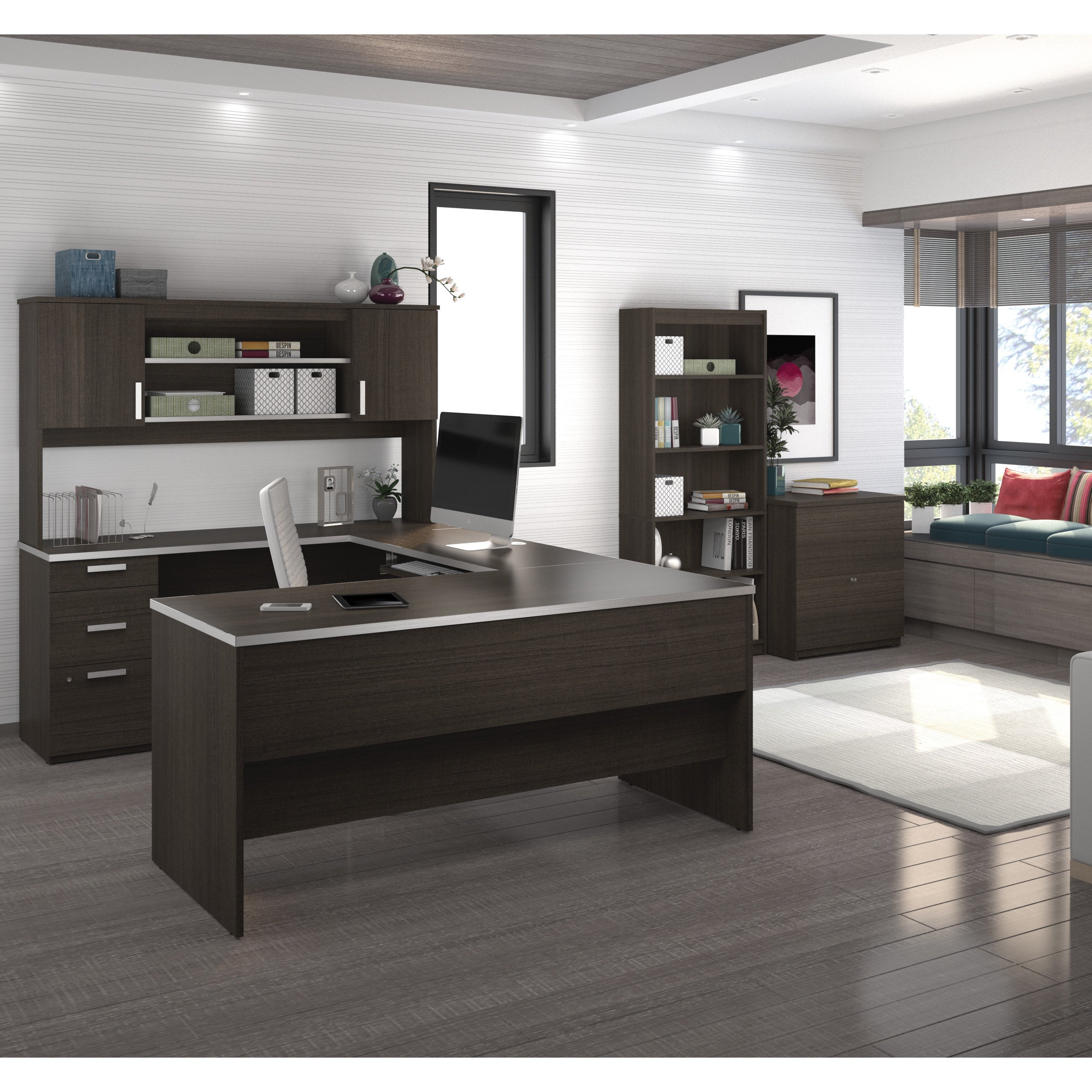 Bestar Ridgeley U Shaped Desk With Lateral File And Bookcase
