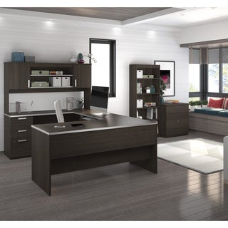 Bestar Ridgeley U-shaped Desk with lateral file and bookcase