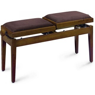 Stagg PB245 WNM VBR Matte Walnut Wood Adjustable Two-seat Piano Bench With Brown Velvet Seat Top