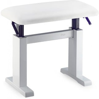 Stagg PBH 780 WHP SWH White Hydraulic Adjustable Piano Bench With White Velvet Seat Top