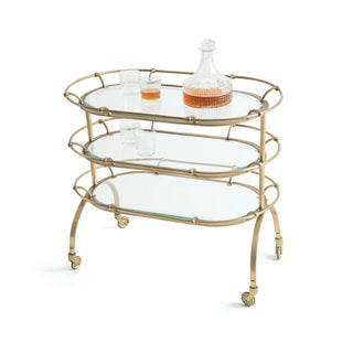 Hip Vintage Blenders Brass and Glass Bar Cart