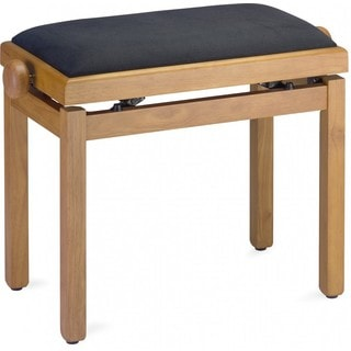 Stagg PB39 OAKM VBK Matte Oak Adjustable Piano Bench With Black Velvet Seat Top
