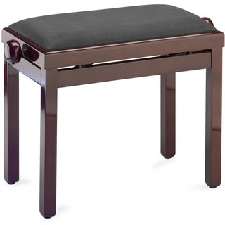 Stagg Black Velvet and High-gloss Mahogany Adjustable Piano Bench