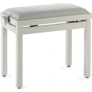 Stagg High-gloss Ivory Oak Wood Adjustable Piano Bench With White Velvet Seat Top
