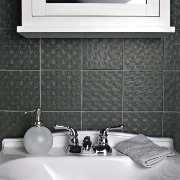 Shop SomerTile Xinch Zona Graphite Porcelain Floor And Wall Tile - 6x6 black floor tile