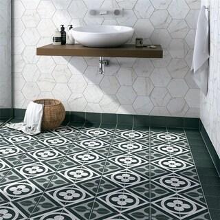 SomerTile 6x6-inch Zona Flower Black Porcelain Floor and Wall Tile (44/Case, 11.94 sqft.)