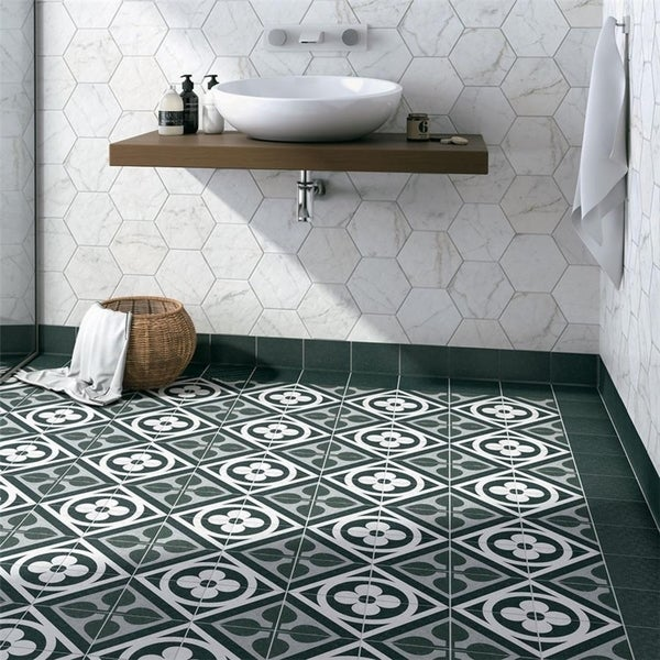 Shop SomerTile Xinch Zona Flower Black Porcelain Floor And Wall - 6x6 black floor tile
