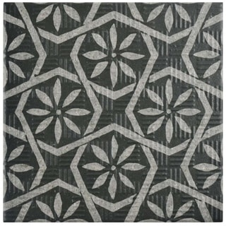 SomerTile 6x6-inch Zona Botanic Black Porcelain Floor and Wall Tile (44/Case, 11.94 sqft.)