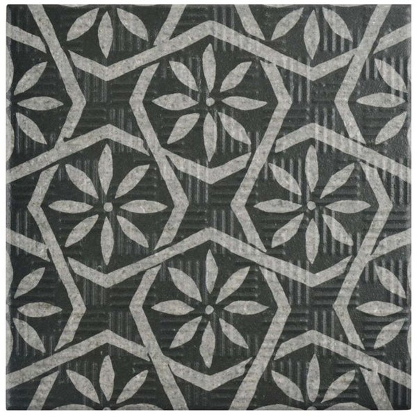 Shop Somertile 6x6 Inch Zona Botanic Black Porcelain Floor And Wall