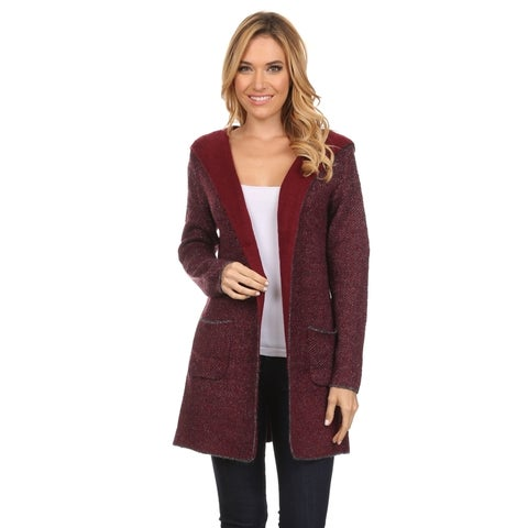 High Secret Women's Acrylic and Wool Thick Knit Reversible Hooded Open-front Cardigan