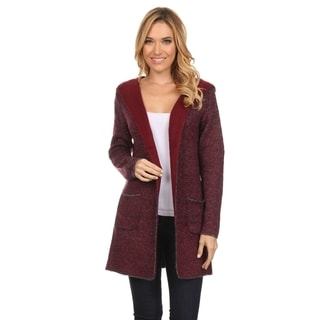 Women's Thick Knit Reversible Hooded Open-front Cardigan