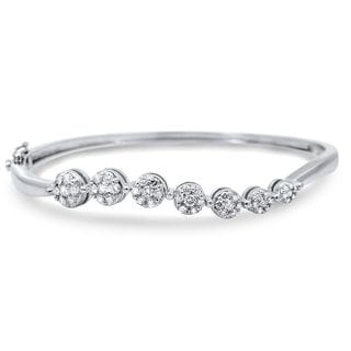 Noori 14k White Gold 1ct TDW Round Flower Diamond Bangle Bracelet (H-I, SI1-SI2)