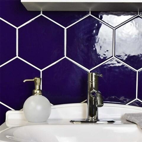 SomerTile 7x8-inch Hextile Glossy Cobalto Ceramic Wall Tile (35 tiles/11 sqft.)