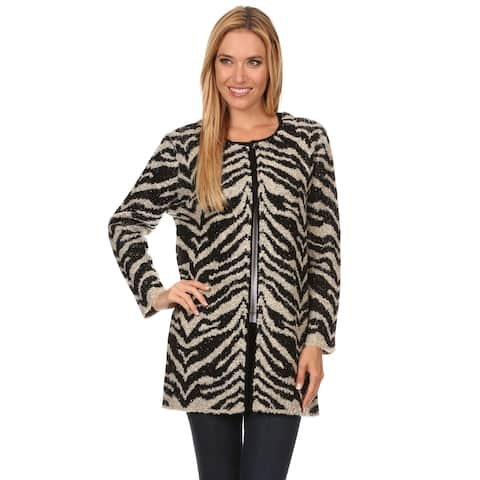 High Secret Women's Animal-print Thick Knit Open-front Cardigan
