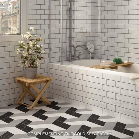 SomerTile 5.5x9.5-inch Rombo Black Porcelain Floor and Wall Tile
