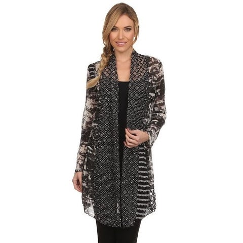 High Secret Women's Black-grey Multi-fabric Open-front Cardigan