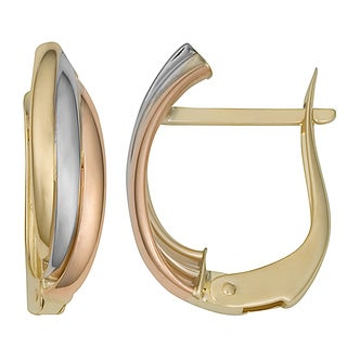 Fremada 14k Tri-Color Gold Omega Back Hoop Earrings