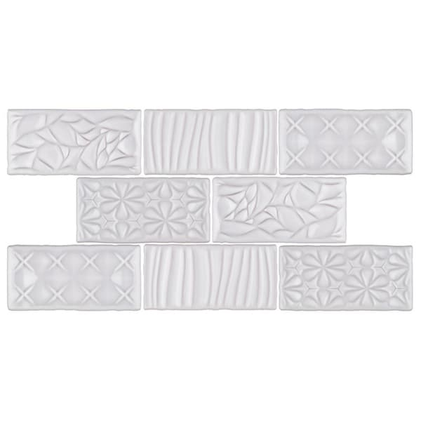 SomerTile 3x6-inch Antiguo Sensations Milk Ceramic Wall Tile (8 tiles/1 sqft.)