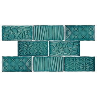 SomerTile 3x6-inch Antiguo Sensations Lava Verde Ceramic Wall Tile (8/Pack, 1 sqft.)