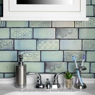 SomerTile 3x6-inch Antiguo Sensations Agua Marina Ceramic Wall Tile (8/Pack, 1 sqft.)