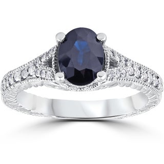 14k White Gold 2 1/3 ct TW Vintage Diamond Black Sapphire Engagement Ring (I-J, I2-I3)