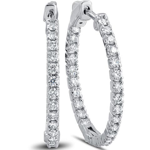 "14k White Gold 1 1/2 ct TDW Diamond Inside Outside Hoops with Vault Lock 1"" Tall"
