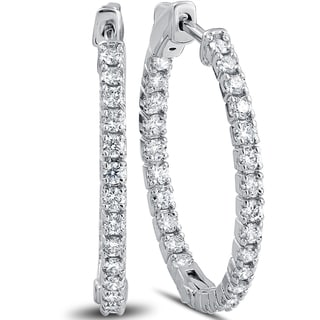 """14k White Gold 1 1/2 ct TDW Diamond Inside Outside Hoops with Vault Lock 1"""" Tall"""