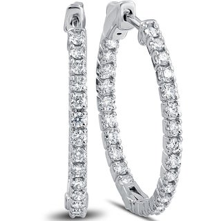 "14k White Gold 1 1/2 ct TDW Diamond Inside Outside Hoops With Vault Lock 1"" Tall (F-G, VS1-VS2)"