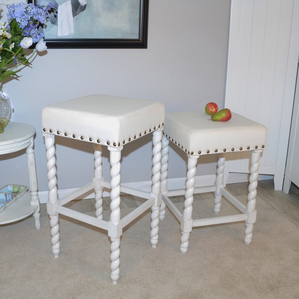 Charlotte Bailey Cream Linen And Espresso Wood Twisted Leg Bar Stool   Free  Shipping Today   Overstock.com   19912585