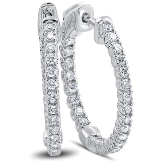 "14k White Gold 1 ct TDW Diamond Inside Outside Hoops With Vault Lock 1"" Tall (F-G, VSI-VS2)"